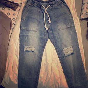 Distressed Medium Wash Cargo Jeans- Med